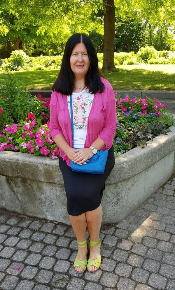 Me wearing my Take Me sandals at Rosetta McClain Gardens in Toronto.