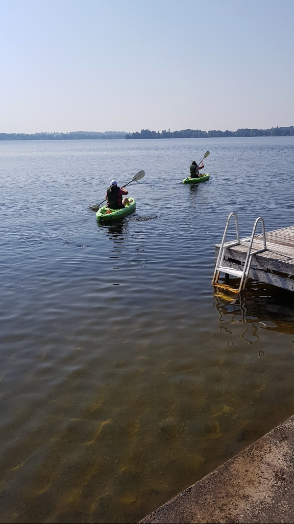 My sister and I out for a ride on the kayas at our cottage rental on Balsam Lake in the Kawarthas.