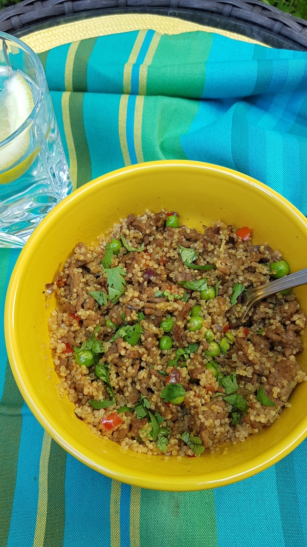 Indonesian Fried Beef with Quinoa, Red Pepper, Green Peas
