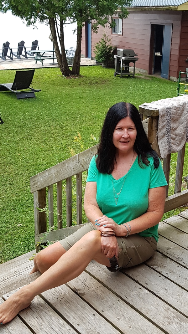 Sitting on the deck at the cottage at the end of July 2021. I have lost between 20 and 25 pounds on a modified Keto diet.