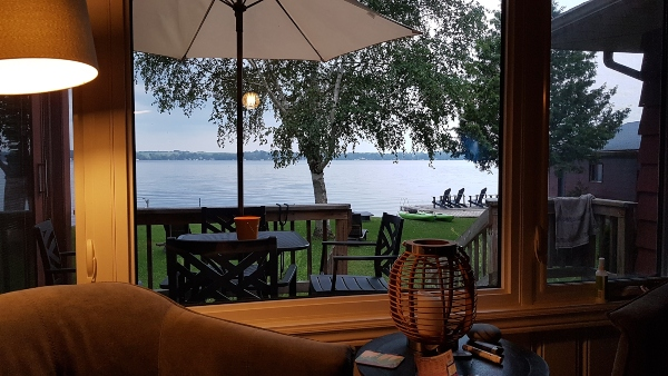 View of lake from cottage rental at Balsam Lake in the Kawarthas.