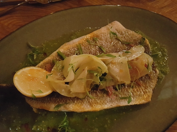 Grilled Branzino with tomatillo vinaigrette, salsa criolla, chayotte and lemon at Baro Restaurant on King Street West.