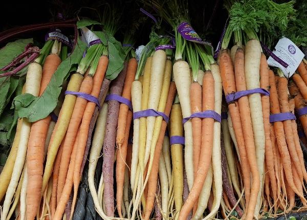 Rainbow carrots include purple, orange and yellow carrots. Did you know purple carrots have double the alpha and beta caroten as orange carrots?