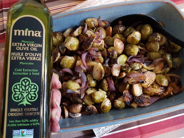 Roasted Brussels Sprouts with Mina Extra Virgin Olive Oil