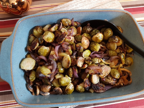 Roasted Brussels Sprouts with Mushrooms, Onion and Extra Virgin Olive Oil